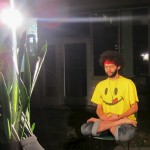 meditating with plant
